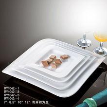 Hot sale hotel&restaurant dishwasher safe beautiful square plain white porcelain wholesale wedding plates