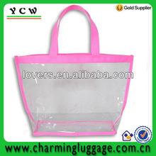 beautiful clear pvc zipper tote bags with pink binding