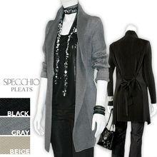 Long Jacket/a-la-mode Wrap Jacket/Black Gray Beige Womens cardigan