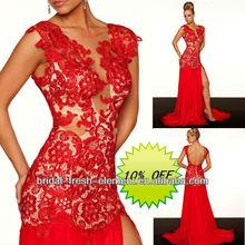 Hot Sale Long Good Quality Lace Cut Mermaid Backless High Slits Evening Dress