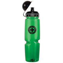 24 oz Polysavers water bottle. Features a dome cap that protects the push and pull spout. Made in the USA. One colour print.