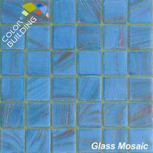 Light Blue Golden Line Crystal Glass Mosaic Colour