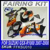 motorcycle body work For SUZUKI GSX-R600 2008 fairing kit ORANGE&BLACK