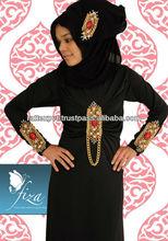 Latest Wonderful Front Embroidery Work On Abaya 2014