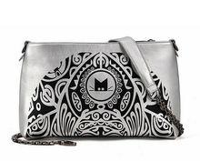 2014 new model black half moon shapped digital cat printing handbag and purse