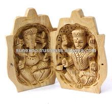 3 Inch Wood Praying Hands Lakshmi Ganesha Ethnic Figurine Statue Gift