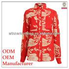Top fashion women's plus size printed red blouse baju