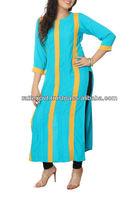Upcoming Fashion Show Blue Linen Casual Kurta 2013