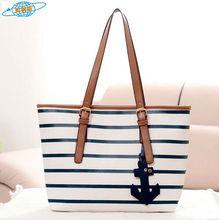(XHF-LADY-246) striped bags white blue anchor bag fashion bags ladies handbags