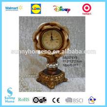 polyresin home decoration antique gold Rose design desktop clock