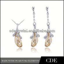 wholesale crystal fashion blue jade jewelry set