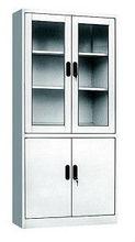 Steel Office Glass Door Double Section Cabinet