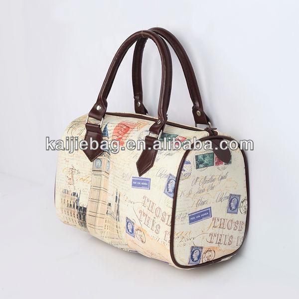 Digital print retro logo custom oem pu leather travel bag