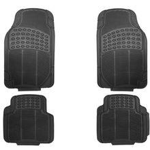 Heavy Duty All Weather Rubber BLACK MAT 4 PC Pads Car Floor Mats