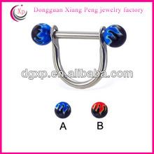 14 ga flame UV balls non piercing nipple rings
