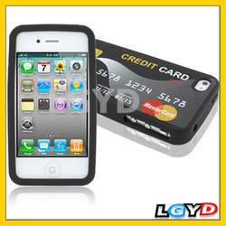 Stylish Credit Card Style Soft Silicone Case Cover for iPhone 4 & 4S