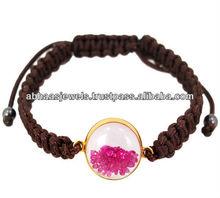 Shaker braccialetto pietra preziosa rubino, in oro 14k gemma macrame braccialetto, designer fatto a mano gioielli braccialetto