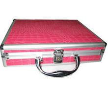 Pink Crocodile Skin PVC with Aluminum Frame Briefcase, RZ-ALB019