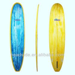Stylish PU yellow and blue fancy tint surf longboard