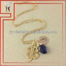 Pop Clover and Stone Multi Pendant Necklace