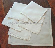 Hand hemstitch white linen napkin