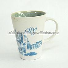 12 oz ceramic mug, stoneware mug handpainting, printed mug with reactive glaze