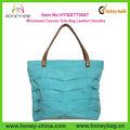 teal azul grande plissado bolsa de lona bolsa de couro punho