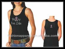 Pink ribbon latest rhinestone design girls tank top