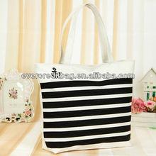 White Black Stripe Shopping Bag