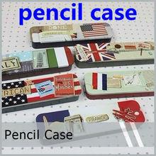 children vintage country flag printed iron Pencil box Tin pencil case iron storgae box iron case