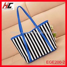 Designer handbags high quality lady handbag 2014 PU fashionable reusable stripe shopping bags