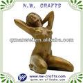 أصفر امرأة عارية تمثال جالس، مثير امرأة النحت