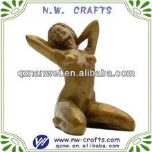 Yellow nude woman sitting figurine,sexy woman sculpture