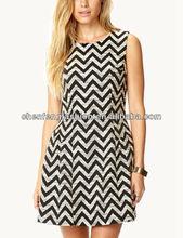 Standout zigzag dress designs fat ladies CF0336