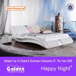 Modern leather bed design furniture wooden slat frame G926
