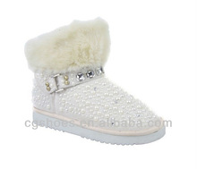 Beautiful Pearls bling lace up snow boots women white fur