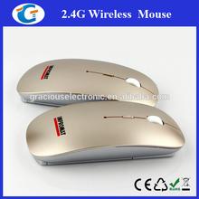 Super Slim Gold Color Mouse Wireless 2.4G
