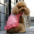100% de poliéster de invierno chaqueta de color rosa de color rojo claro perro t- shirt, ropa para perros