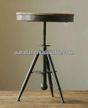 vintage industrial outdoor garden metal round bar table