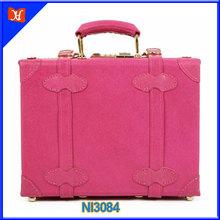 2014 Fashion young girls present small attache case,bright color genuine leather retro tote business bag