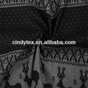 Cortinas del copo de nieve 2-tone gris negro sika ciervos de la navidad suave 100% poliéster tela de la impresión