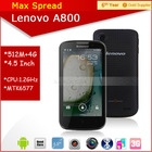 Lenovo A800 4.5'' touch screen mobile phone 1.2GHz dual core dual sim multi language