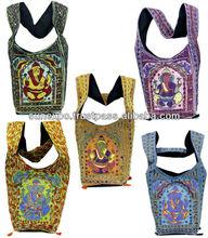 10Pc Traditional Ethnic Elephant God Lord Ganesha Embroidery Indian Rajasthani Art Deco Tote Ladies Cotton Purse Handbag