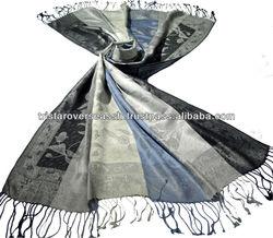 Black White Pure Silk Scarf