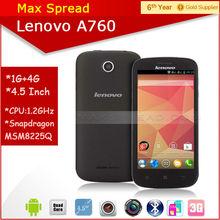 4.5'' Lenovo A760 1.2GHz MSM8225Q Dual sim 1GB RAM gps multi language quad core android phone