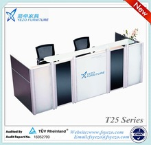 modern office reception desk with 12mm thick tempered glass top, office furniture reception counter with 56.8mm thick partitions