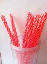 China Wholesale BPA free Passion Red/transparent Bar Plastic Straw