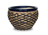 Handicraft Ceramic flower pots/ ceramic weaving planters/ weaving ceramic pots