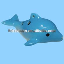 Dolphin shape ceramic antique ocarina