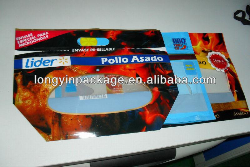 plastic slide zipper cooked chicken packaging bag/ microwave hot roast chicken packaging bag/microwaveable grilled chicken bag